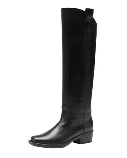 Gucci Square-Toe Over-the-Knee Boot, Black