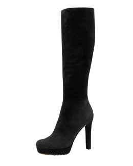 Gucci Anouk High-Heel Suede Boot, Black
