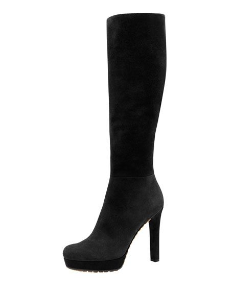 Anouk High-Heel Suede Boot, Black