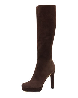 Gucci Anouk High-Heel Suede Boot, Dark Brown