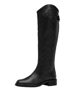 Gucci Maud Leather Guccissima Riding Boot, Black
