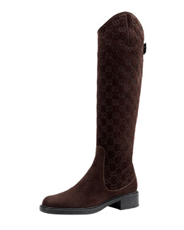 Gucci Maud Suede Guccissima Riding Boot, Dark Brown