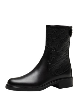 Gucci Maud Leather Guccissima Ankle Boot, Black