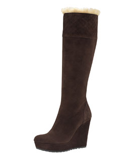 Gucci Courteney Fur Suede Wedge Boot, Dark Brown
