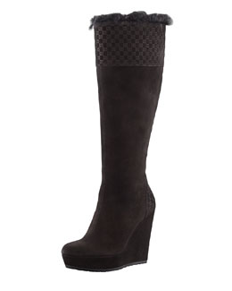 Gucci Courteney Fur Suede Wedge Boot, Black