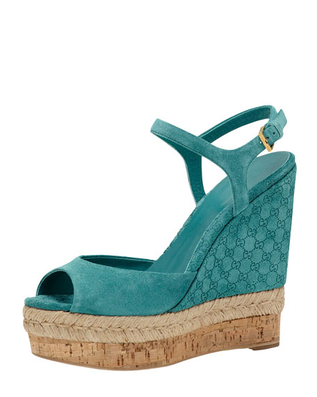 Suede Wedge Espadrille Sandal, Dark Green