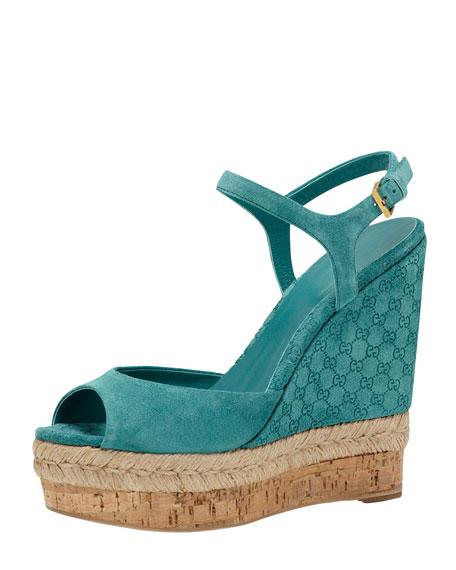 Suede Wedge Espadrille Sandal, Dark Green