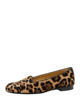 Gucci Leopard-Print Calf Hair Smoking Slipper