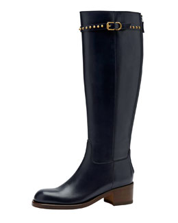 Gucci Irene Flat Studded Knee Boot, Blue