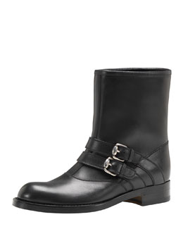 Gucci Margarett Leather Motorcycle Boot, Black
