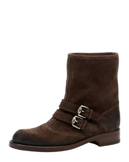 Gucci Margarett Suede Motorcycle Boot, Dark Brown