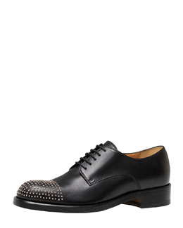 Gucci Studded Flat Lace-Up Oxford, Black