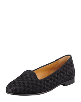 Gucci Micro Guccissima Suede Smoking Slipper, Black
