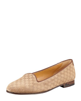 Gucci Micro Guccissima Suede Smoking Slipper, Medium Brown