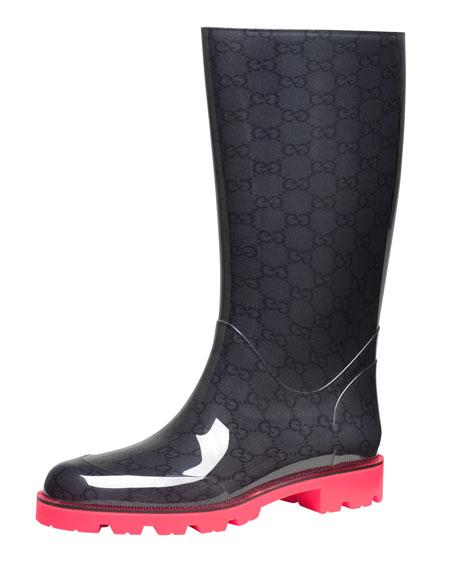 a2d98ebee39 Gucci Flat Neon-Sole Rain Boot
