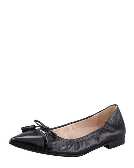 Leather Tassel Pointed-Toe Ballet Flat