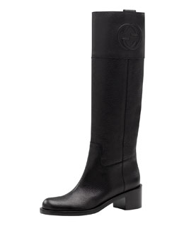 Gucci Soho Pebbled Leather Riding Boot, Black