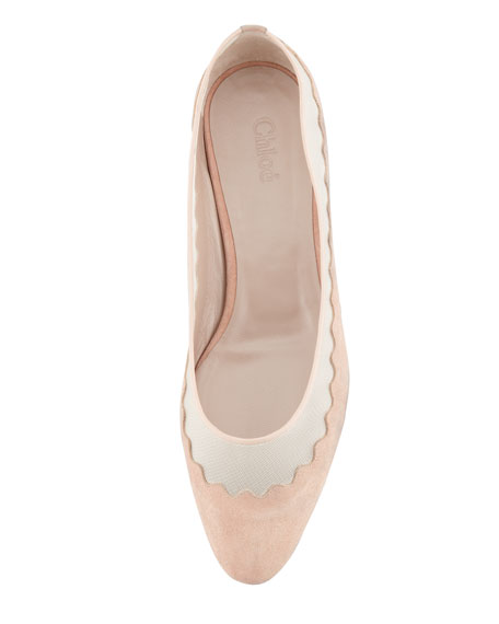Suede Tulle-Scalloped Ballet Flat, Nude