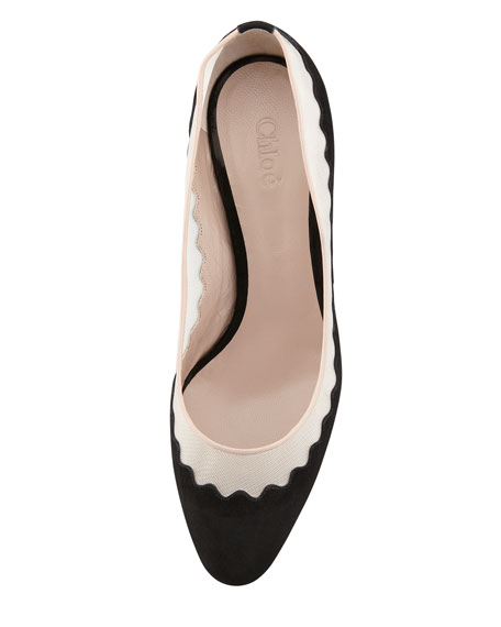 Suede Tulle-Scalloped Colorblock Pump, Black/Nude/Bordeaux