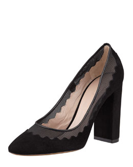 Chloe Suede Scalloped Pump, Black