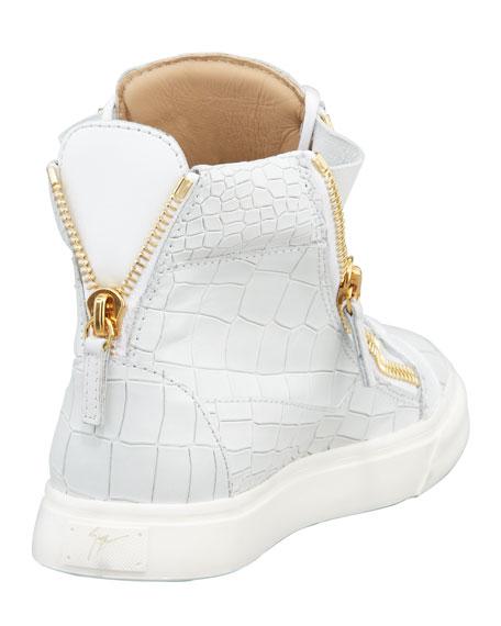 Croc-Embossed Low Top Sneaker, White