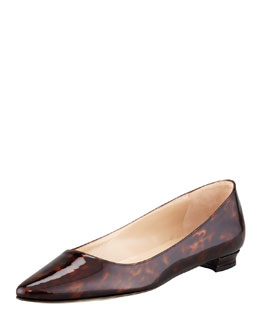 MANOLO BLAHNIK Titto Pointed-Toe Ballerina Flat, Brown
