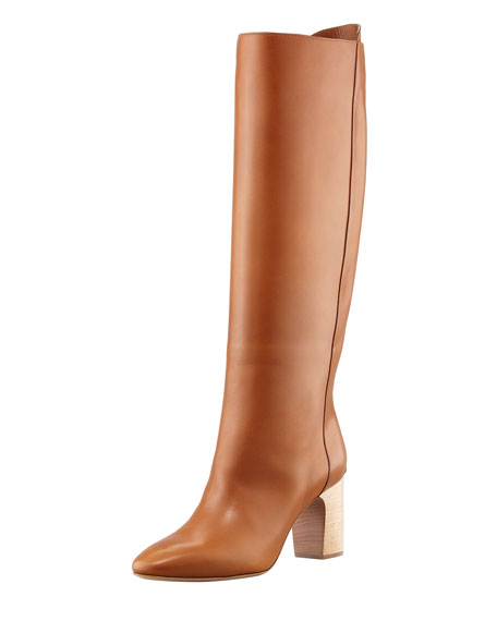 High-Heel Leather Pull On Boot, Brown