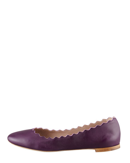 Scalloped Leather Ballerina Flat, Purple Pansy