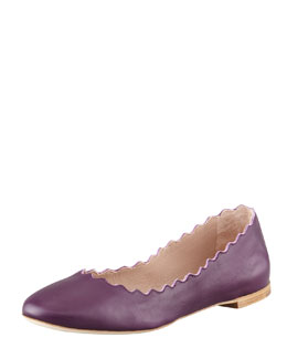 Chloe Scalloped Leather Ballerina Flat, Purple Pansy