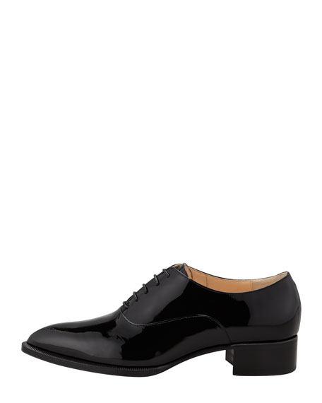 Zazou Pointed-Toe Red Sole Derby Flat, Black