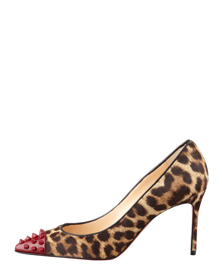 Geo Spike-Toe Leopard Calf Hair Red Sole Pump