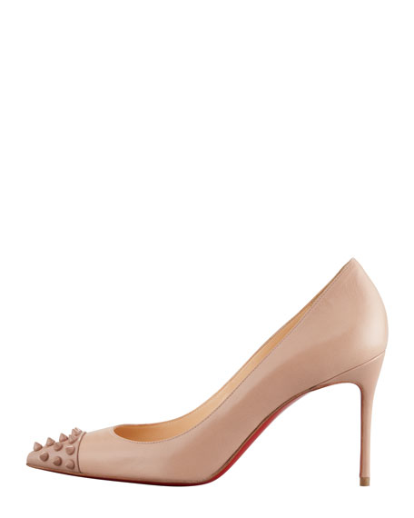Geo Spike-Capped Red-Sole Pump, Nude