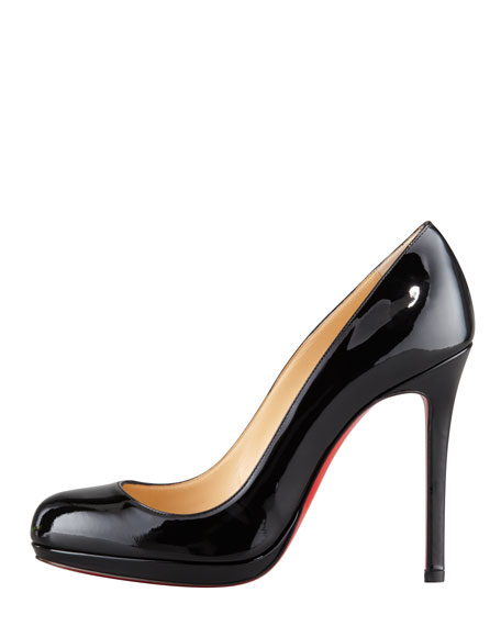 Neofilo Patent Round-Toe Red Sole Pump, Black