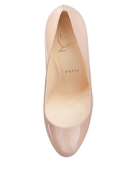 Neofilo Patent Round-Toe Red Sole Pump, Nude