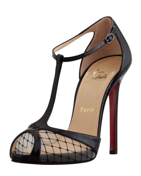 outlet store 9e6f5 60fed Lagoula T-Strap Fishnet Red Sole Pump