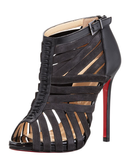 b148b725224 Karina Caged Red-Sole Ankle Bootie Black