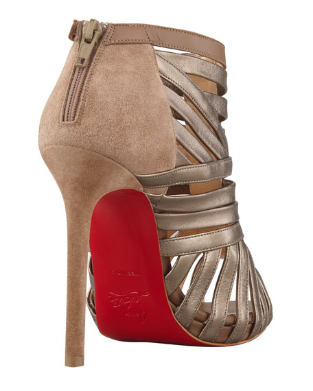 Karina Caged Red-Sole Ankle Bootie, Greige