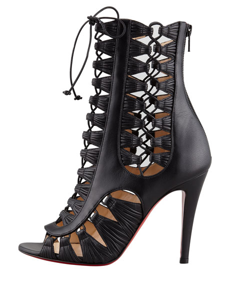 Azimut Caged Leather Bootie, Black
