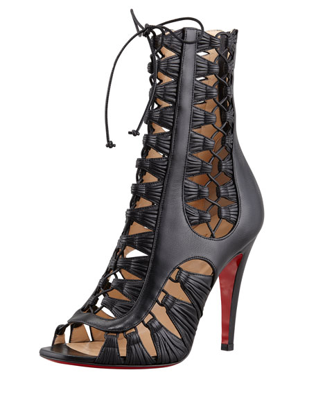 new style 319c3 65f2b Azimut Caged Leather Bootie Black