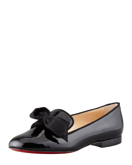 Gine Patent Leather Bow Slipper, Black