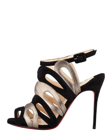 Cerso Suede/Metallic Strappy Red Sole Sandal