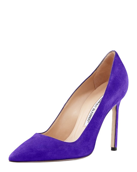 BB Suede Pointed-Toe Pump, Purple