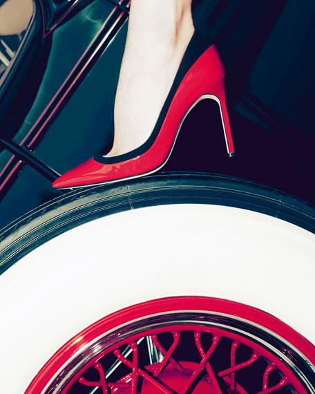 Pretati Patent & Suede Pump, Red/Black
