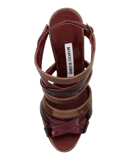 Mimkema Strappy Patent Sandal, Bordeaux/Copper