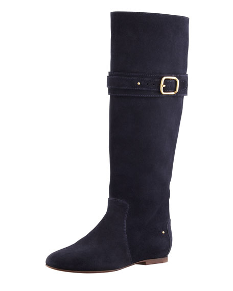 Paddington Suede Flat Knee Boot, Navy
