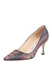 MANOLO BLAHNIK Newcio Snakeskin Pointed-Toe Pump, Pink/Brown