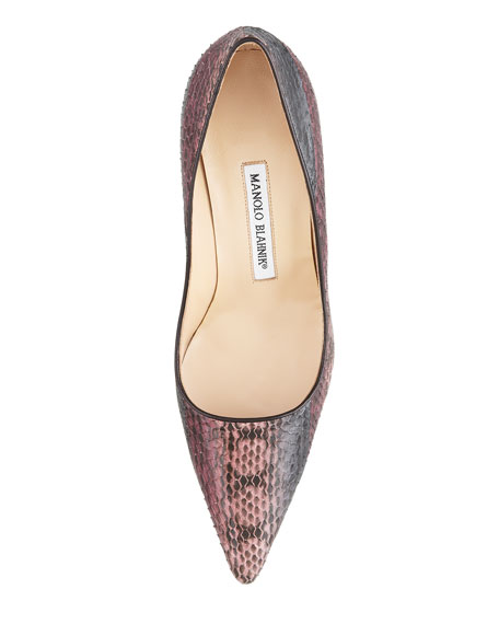 Newcio Snakeskin Pointed-Toe Pump, Pink/Brown