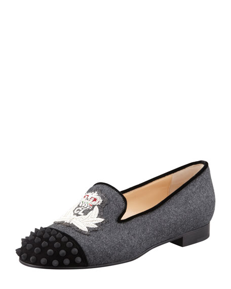 8db6dcb1d4e ... promo code for christian louboutin intern spiked cap toe flannel loafer  gray black 8b309 57f2f