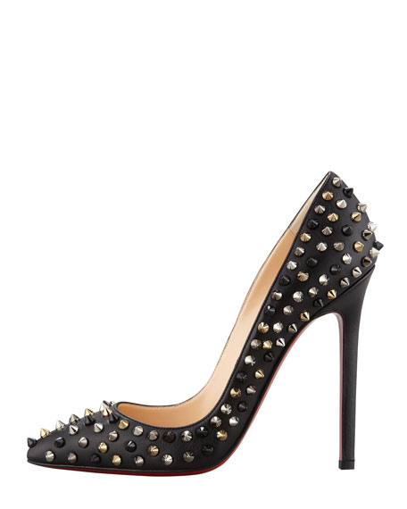 Pigalle Spikes Red Sole Pump, Black