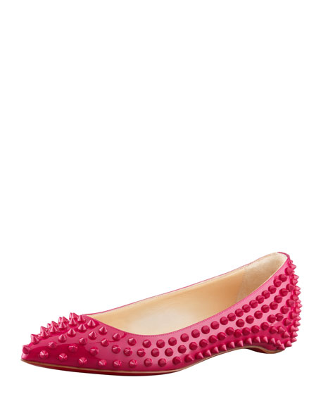 Pigalle Spikes Point-Toe Red Sole Flat, Grenadine